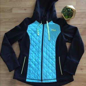 FILA SPORT Black/Ice Blue/Yellow Hoodie Jacket